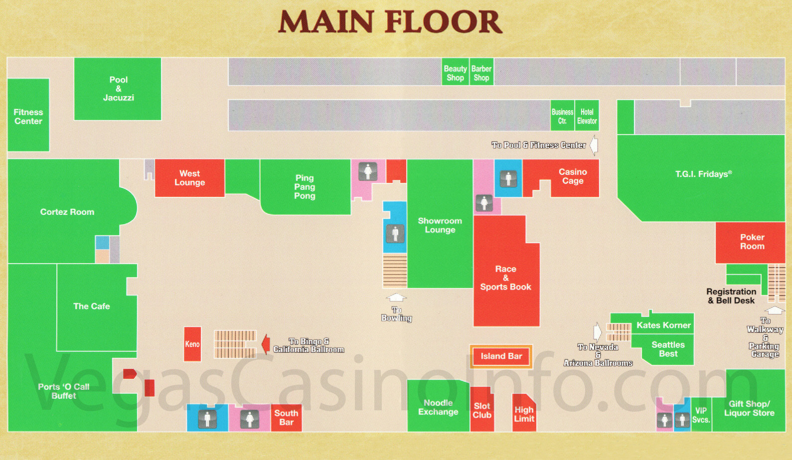 Las Vegas Casino Property Maps And Floor Plans VegasCasinoInfocom - Planet hollywood las vegas map